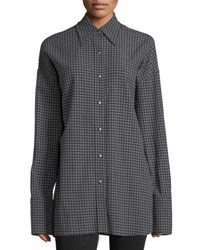 Helmut Lang Check Point Collar Button Front Oversized Shirt Black Pattern