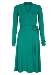 Hotsquash Wrap Dress In Thinheat Fabric Emerald Green