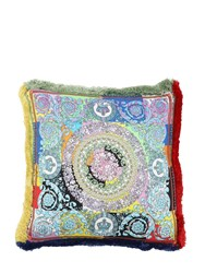 Versace Barocco Patchwork Silk Pillow Multicolor