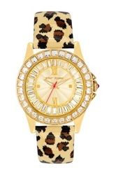 Betsey Johnson Women's Animal Print Leather Watch Multi