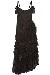 Alessandra Rich Swan Asymmetric Tiered Lace And Flocked Tulle Gown Black