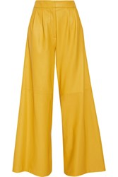 Adam By Adam Lippes Pleated Leather Wide Leg Pants Yellow