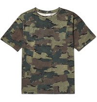 Dries Van Noten Camouflage Print Cotton Jersey T Shirt Green