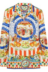 Dolce And Gabbana Printed Silk Twill Shirt Orange