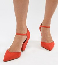 Asos Design Speaker Wide Fit Pointed Heels Hot Tomato Red