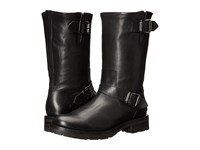 Frye Natalie Mid Engineer Lug Black Tumbled Full Grain Women's Pull On Boots