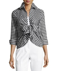 Neiman Marcus Gingham Tie Front Blouse Black White