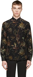 Versus Black And Green Patterned Anthony Vaccarello Edition Shirt