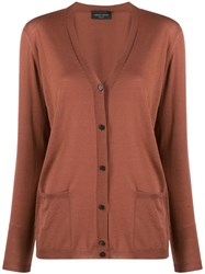 Roberto Collina Relaxed Fit V Neck Cardigan Brown