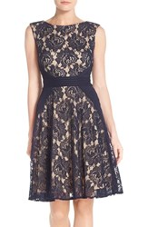 Women's Gabby Skye Lace And Pintuck Detail Fit And Flare Dress