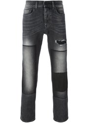 Pence Frayed Washed Skinny Trousers Grey