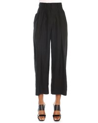 Donna Karan Cropped Pleated Canvas Pants Black