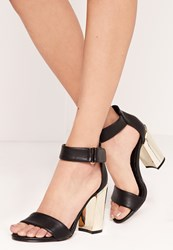 Missguided Gold Block Heel Barely There Sandals Black Black