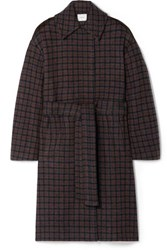 Vince Belted Checked Wool Blend Coat Dark Gray