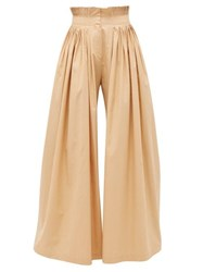 Vika Gazinskaya Pleated High Rise Cotton Wide Leg Trousers Beige