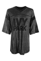 Topshop Lame Logo T Shirt By Ivy Park Silver