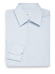 Brioni Pencil Stripe Cotton Dress Shirt Sky Blue