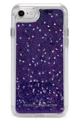 Rebecca Minkoff Galaxy Glitter Iphone 7 8 And 7 8 Plus Case Black Black Blue Glitter