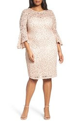 Marina Plus Size Women's Sequin Lace Bell Sleeve Dress Peach
