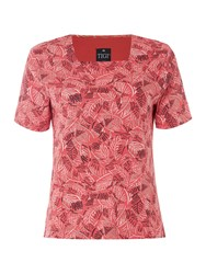 Tigi Short Sleeve Leaf Print Square Neck Top Red