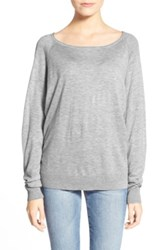 Splendid Scoop Neck Pullover Sweater Gray