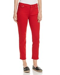 Ralph Lauren Straight Leg Cropped Jeans In Red