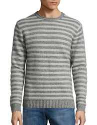 Black Brown Wool Blend Striped Marled Knit Sweater Boulder Heather