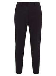 Dolce And Gabbana Stretch Cotton Gabardine Slim Leg Trousers Navy