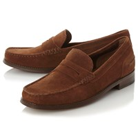 Bertie Randsom Suede Penny Saddle Loafers Tan