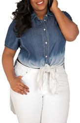 Poetic Justice Plus Size Women's Regina Ombre Denim Tunic Shirt
