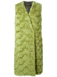 Erika Cavallini Semi Couture Fur Long Vest Green