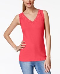 Karen Scott Lace Trim Tank Top Only At Macy's Pink Twist