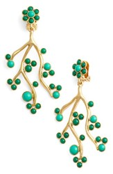Oscar De La Renta Women's Vine Clip Earrings Emerald