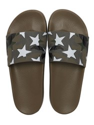 Valentino Stars And Camo Print Rubber Slide Sandals