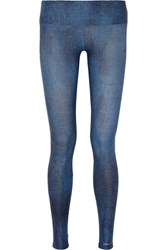Bodyism I Am Comfortable Printed Stretch Jersey Leggings Blue