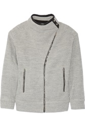 Iro Leather Trimmed Knitted Jacket Gray