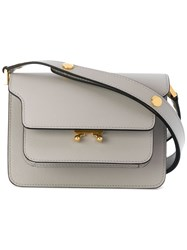 Marni Trunk Shoulder Bag Calf Leather Grey