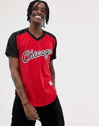 Mitchell And Ness Chicago Bulls Mesh V Neck T Shirt In Red