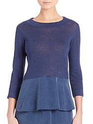 Akris Punto Two Tone Linen Peplum Top Denim