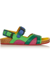 Burberry Color Block Textured Leather Sandals