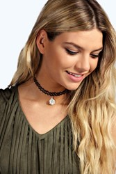 Boohoo Sun Stretchy Tattoo Choker Black