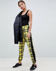 Asos Design Joggers In Check With Side Stripe Multi