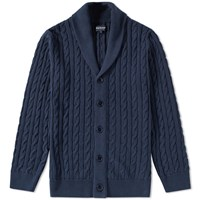 Barbour Cable Shawl Cardigan Blue