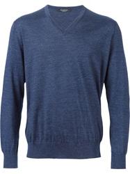 Ermenegildo Zegna V Neck Sweater Blue