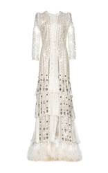 Roberto Cavalli Embroidered Tiered Fringe Long Sleeve Gown Neutral