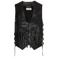 Saint Laurent Leather Waistcoat Noir Gold Officier