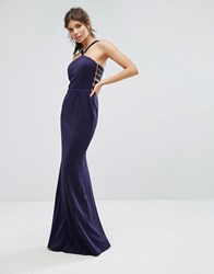 Forever Unique Racer Waisted Maxi Dress Navy Blue