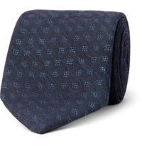 Oliver Spencer 8Cm Deacon Cotton And Linen Blend Jacquard Tie Navy