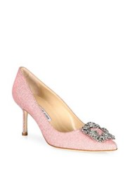 Manolo Blahnik Hangisi Jeweled Pumps Champagne