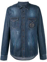 Philipp Plein Denim Shirt Men Cotton M Blue